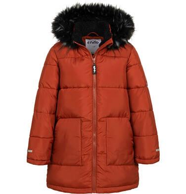 Endo - Długa kurtka zimowa dla chłopca, ceglany pomarańczowy, 2-8 lat C04A014_2,1