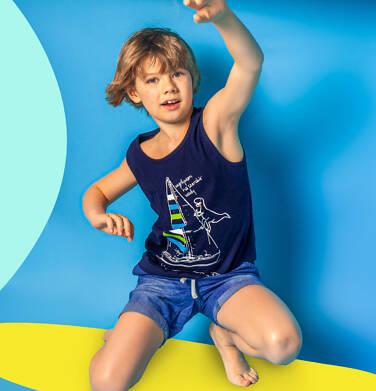 Endo - Koszulka bez rękawów dla chłopca, z żaglówką i dinozaurem, granatowa, 9-13 lat C06G055_1 202