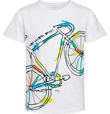 Endo - T shirt z krótkim rękawem dla chłopca, z kolorowym rowerem, biały, 2-8 lat C05G187_2 18