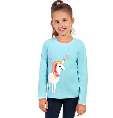 Endo - Tunika z długim rękawem dla dziewczynki, z jednorożcem, niebieska, 2-8 lat D04T010_2 40