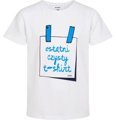 Endo - T-shirt z krótkim rękawem dla chłopca, z napisem ostatni czysty t-shirt, biały, 9-13 lat C06G148_1 222