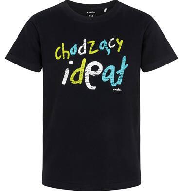 Endo - T-shirt z krótkim rękawem dla chłopca, z kolorowym napisem chodzący ideał, czarny, 9-13 lat C06G149_1 36