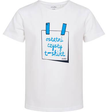 Endo - T-shirt z krótkim rękawem dla chłopca, z napisem ostatni czysty t-shirt, biały, 3-8 lat C06G165_1 7