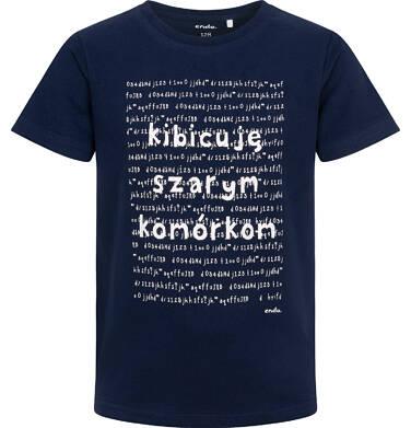 Endo - T-shirt z krótkim rękawem dla chłopca, z napisem kibicuję szarym komórkom, granatowy, 3-8 lat C06G177_1 23