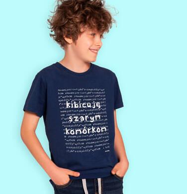 Endo - T-shirt z krótkim rękawem dla chłopca, z napisem kibicuję szarym komórkom, granatowy, 3-8 lat C06G177_1 127