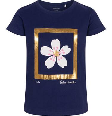 Endo - T-shirt z krótkim rękawem dla dziewczynki, z kwiatem, złote wykończenie, granatowy, 9-13 lat D06G013_3 14