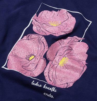 Endo - T-shirt z krótkim rękawem dla dziewczynki, z kwiatami w ramce, granatowy, 9-13 lat D06G025_2 8