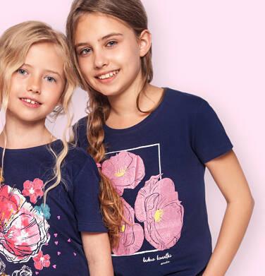 Endo - T-shirt z krótkim rękawem dla dziewczynki, z kwiatami w ramce, granatowy, 9-13 lat D06G025_2 173