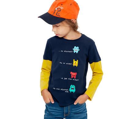 Endo - T-shirt z długim rękawem dla chłopca, kontrastowe rękawy, granatowy, 2-8 lat C04G055_1 20