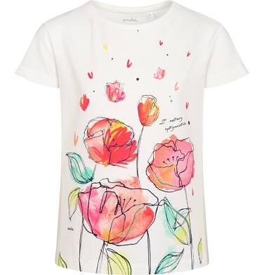 Endo - T-shirt z krótkim rękawem dla dziewczynki, z makami i napisem, kremowy, 9-13 lat D06G026_1 24