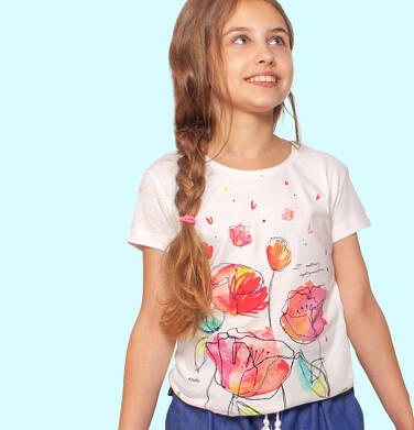 Endo - T-shirt z krótkim rękawem dla dziewczynki, z makami i napisem, kremowy, 9-13 lat D06G026_1 5