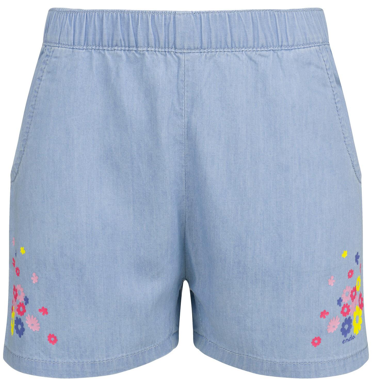 Endo - Krótkie spodenki jeansowe dla dziewczynki, kwiatowy motyw, 2-8 lat D03K032_1