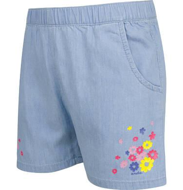 Endo - Krótkie spodenki jeansowe dla dziewczynki, kwiatowy motyw, 2-8 lat D03K032_1,2