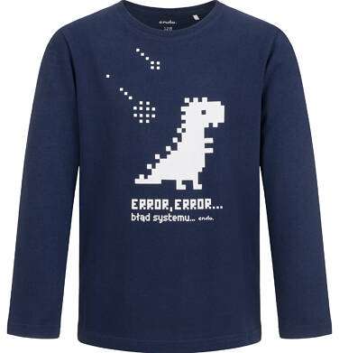 T-shirt z długim rękawem dla chłopca, z dinozaurem, granatowy, 2-8 lat C04G160_1