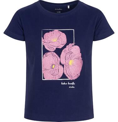 Endo - T-shirt z krótkim rękawem dla dziewczynki, z kwiatami w ramce, granatowy, 3-8 lat D06G032_2 27