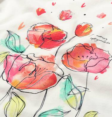 Endo - T-shirt z krótkim rękawem dla dziewczynki, z makami i napisem, kremowy, 3-8 lat D06G033_1 15
