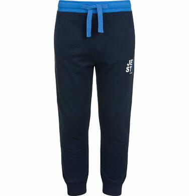 Endo - Spodnie dresowe dla chłopca, kontrastowe ściągacze, ciemnogranatowe, 2-8 lat C03K025_3 242