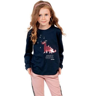 Endo - Bluzka z długim rękawem dla dziewczynki, z dinozaurem, czarna, 9-13 lat D04G120_1 13
