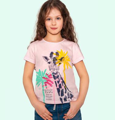 Endo - T shirt z krótkim rękawem dla dziewczynki, z żyrafą, różowy, 2-8 lat D05G117_1 48