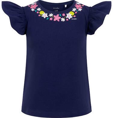 Endo - Bluzka z krótkim rękawem dla dziewczynki, kwiatki wokół dekoltu, z motylkowymi rękawkami, 9-13 lat D06G043_1 10
