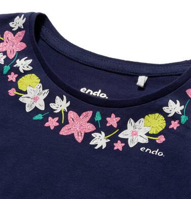 Endo - Bluzka z krótkim rękawem dla dziewczynki, kwiatki wokół dekoltu, z motylkowymi rękawkami, 3-8 lat D06G051_1 11