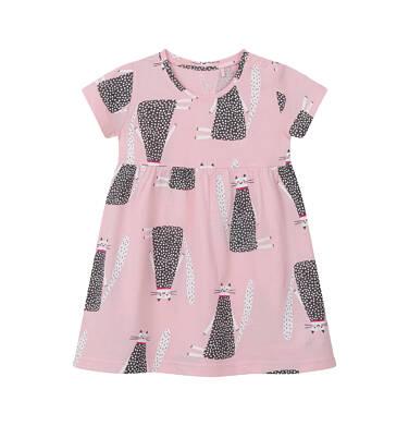 Sukienka z krótkim rękawem dla dziewczynki do 2 lat, deseń w koty, różowa N03H018_1