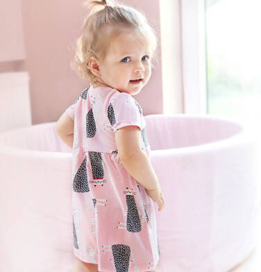 Endo - Sukienka z krótkim rękawem dla dziewczynki do 2 lat, deseń w koty, różowa N03H018_1 22