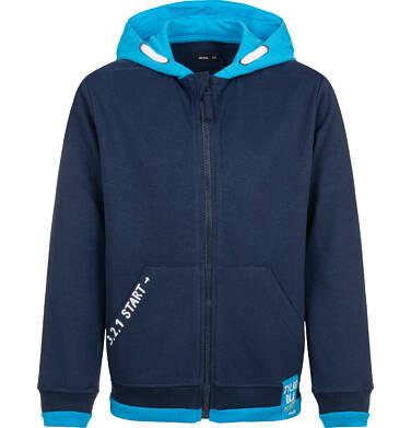 Endo - Bluza z kapturem dla chłopca, rozpinana, z napisem na kieszeni, granatowa, 4-8 lat C03C029_1 4