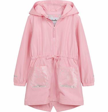 Wiosenna kurtka parka, z cekinami w kieszeniach, różowa, 2-8 lat D03A001_1