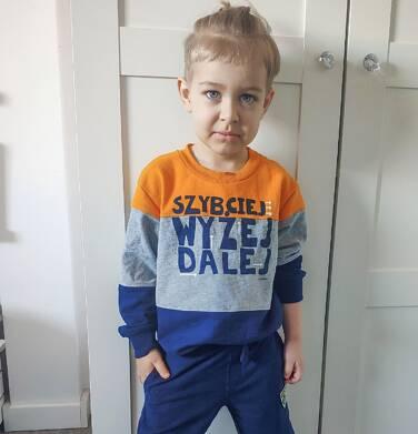 Endo - Bluza dla chłopca, z napisem, granatowo-szaro-musztardowa, 4-8 lat C03C030_1 7
