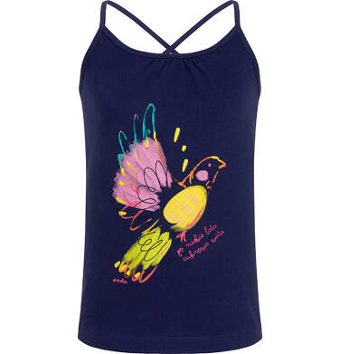 Endo - Top na ramiączkach dla dziewczynki, granatowy z kolorowym ptakiem, 3-8 lat D06G102_1 18