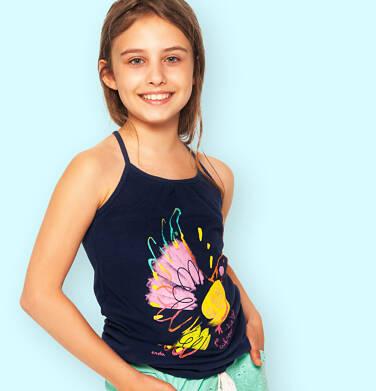Endo - Top na ramiączkach dla dziewczynki, granatowy z kolorowym ptakiem, 3-8 lat D06G102_1 17