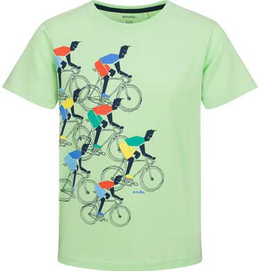 Endo - T-shirt z krótkim rękawem dla chłopca, z rowerami, zielony, 9-13 lat C03G723_1 241