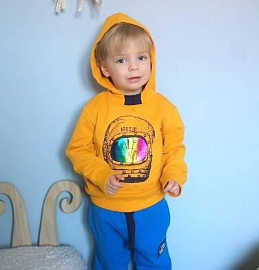 Endo - Bluza z kapturem dla chłopca, z hełmem astronauty, musztardowa, 2-8 lat C03C040_1,2