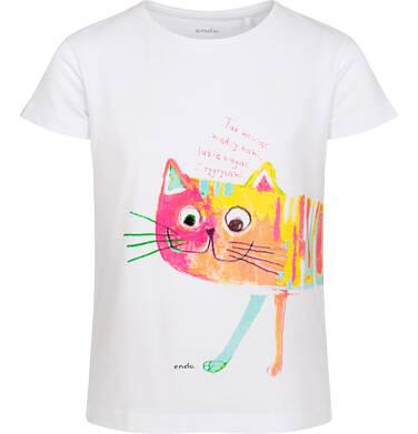Endo - T-shirt z krótkim rękawem dla dziewczynki, z malowanym kotem i napisem, biały, 2-8 lat D06G105_1 2