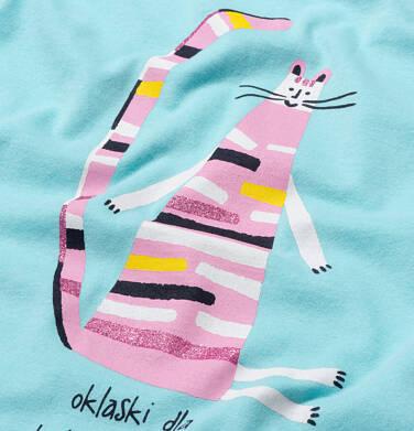 Endo - T-shirt z krótkim rękawem dla dziewczynki, z kolorowym kotem, niebieski, 2-8 lat D06G115_1 13
