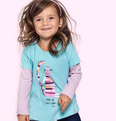Endo - T-shirt z krótkim rękawem dla dziewczynki, z kolorowym kotem, niebieski, 2-8 lat D06G115_1 202