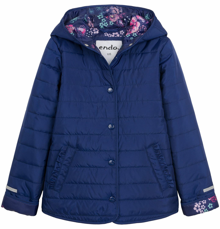 Endo - Pikowana kurtka przejściowa dla dziewczynki, deseń w kwiaty, 2-8 lat D03A005_1
