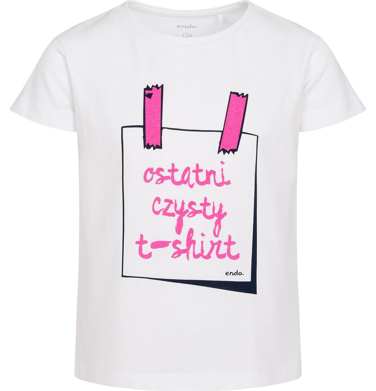 Endo - T-shirt z krótkim rękawem dla dziewczynki, z różowym napisem ostatni czysty t-shirt, biały, 9-13 lat D06G124_1