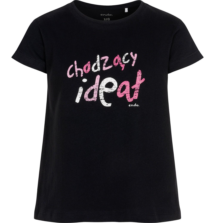 Endo - T-shirt z krótkim rękawem dla dziewczynki, z różowym napisem chodzacy ideał, czarny, 3-8 lat D06G126_1