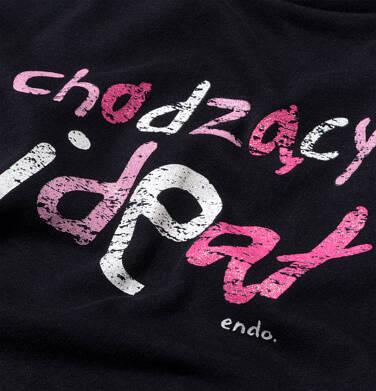 Endo - T-shirt z krótkim rękawem dla dziewczynki, z różowym napisem chodzacy ideał, czarny, 3-8 lat D06G126_1 26
