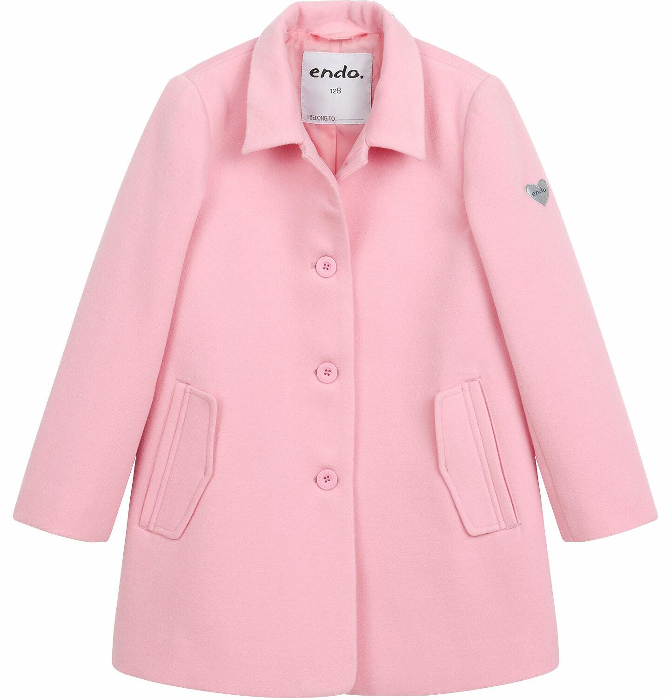 Endo - Flauszowy płaszcz przejściowy dla dziewczynki, z kołnierzykiem, różowy, 2-8 lat D03A006_1
