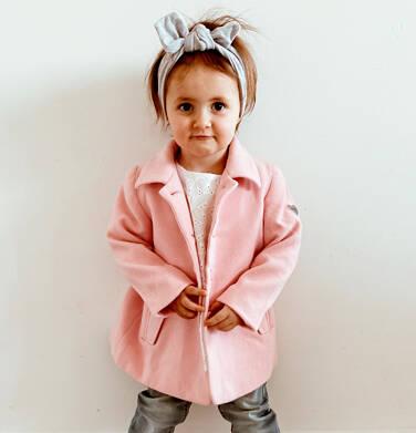 Endo - Flauszowy płaszcz przejściowy dla dziewczynki, z kołnierzykiem, różowy, 2-8 lat D03A006_1,2