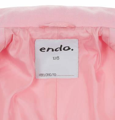 Endo - Flauszowy płaszcz przejściowy dla dziewczynki, z kołnierzykiem, różowy, 2-8 lat D03A006_1,7