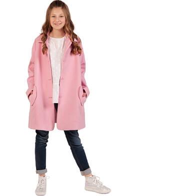 Endo - Flauszowy płaszcz przejściowy dla dziewczynki, z kołnierzykiem, różowy, 2-8 lat D03A006_1,3