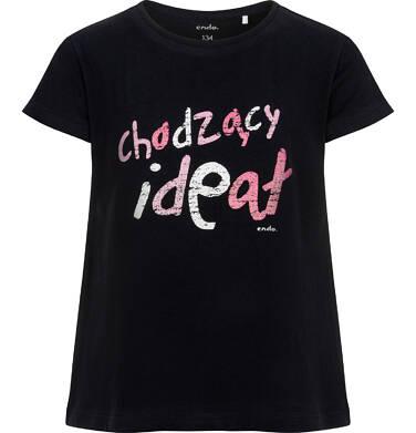 Endo - T-shirt z krótkim rękawem dla dziewczynki, z różowym napisem chodzacy ideał, czarny, 9-13 lat D06G127_1 9