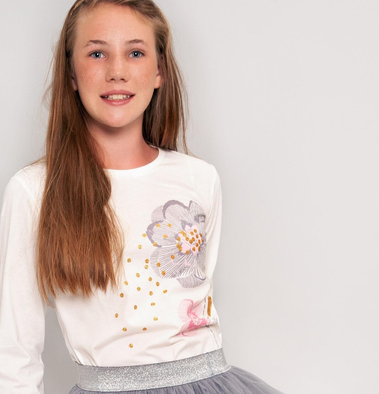 Endo - Bluzka z długim rękawem dla dziewczynki, z falbanką, porcelanowa, 9-13 lat D92G613_1