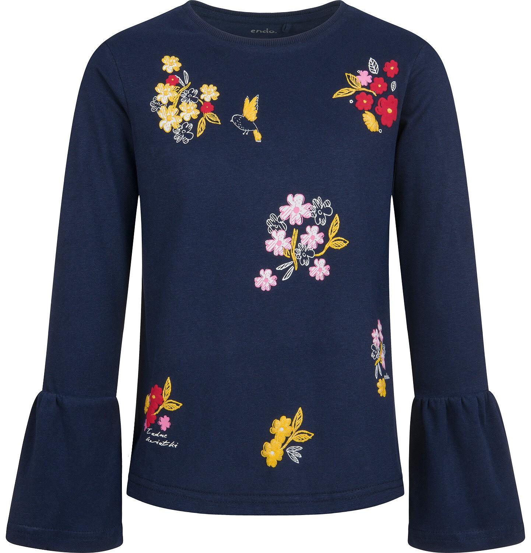Endo - Bluzka z długim rękawem dla dziewczynki, z motywem kwiatów, granatowa, 9-13 lat D04G136_1