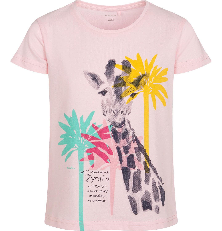 Endo - T shirt z krótkim rękawem dla dziewczynki, z żyrafą, różowy, 9-13 lat D05G118_1
