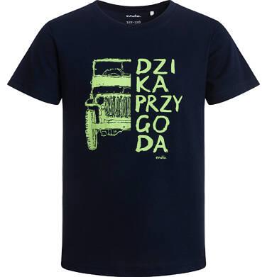 Endo - T-shirt z krótkim rękawem dla chłopca, z napisem dzika przygoda, granatowy, 2-8 lat C06G020_1 128